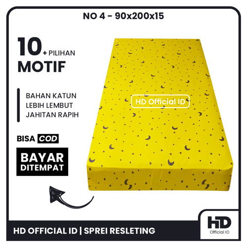Foto Produk Sarung Kasur Busa Resleting 90x200x15 Single No 4 Bahan Katun Micro - Yellow Moon dari HD Official Id