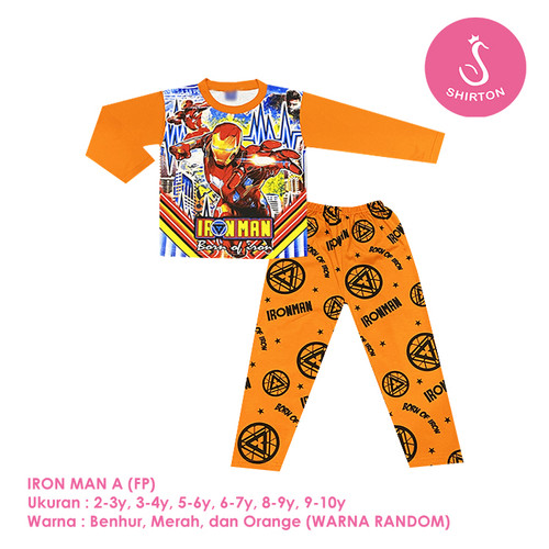 Foto Produk Baju Setelan Anak Laki-Laki Panjang Full Print Iron Man A Shirton - IRONMAN A FP, 2-3y Panjang dari shirton