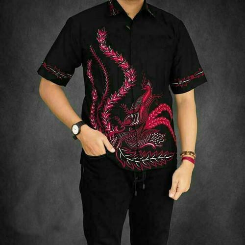 Foto Produk Batik Pria Baju Hem Cowok Kemeja Remaja Lengan Pendek Modern Murah - Merah, M dari Mampier Batik