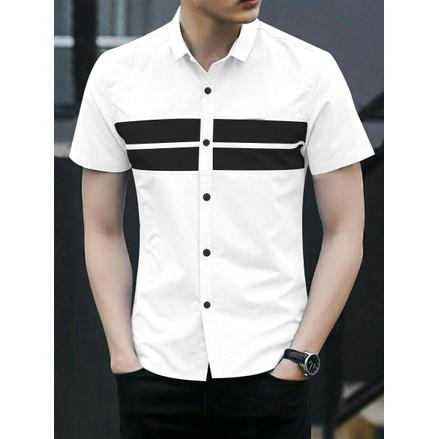 Foto Produk GARAF DEN Baju Kemeja Lengan Pendek Pria putih Hitam Polos Slimfit - Putih, M dari Garaf Official