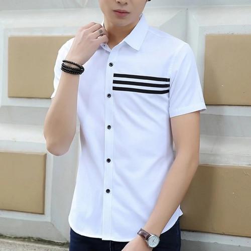 Foto Produk GARAF DONIE Baju Kemeja Lengan Pendek Pria putih Hitam Polos Slimfit - Putih, M dari Garaf Official