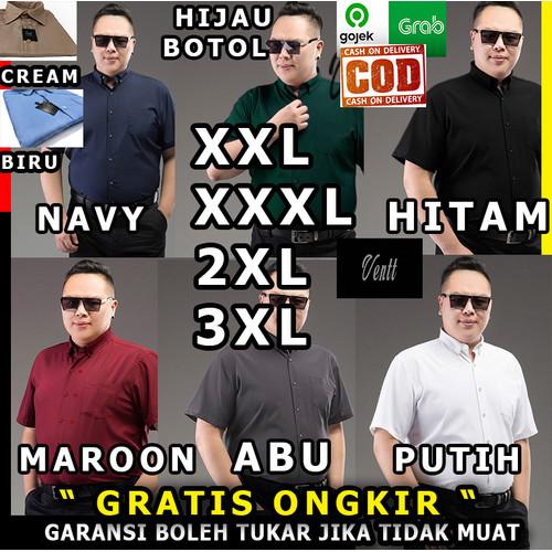 Foto Produk kemeja baju pria cowok big size jumbo xxl xxxl 2xl 3xl pendek ventt - Hitam, XXL  / 2XL dari ventt