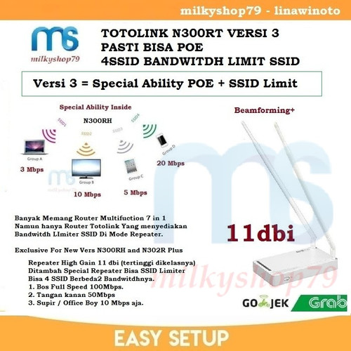 Foto Produk Totolink N300RH 7 in 1 Beamforming Super Double Long Range 11dbi dari milkyshop79