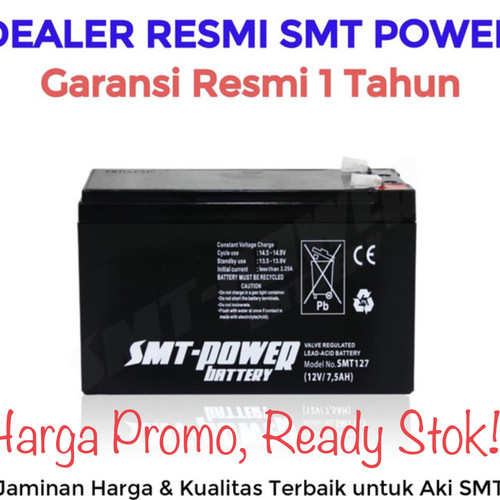 Foto Produk Aki Baterai kering battery ups aki smt 12v 7,5Ah, Aki smt 12V 7Ah 7,5A dari Power Solution pWs