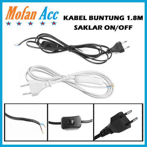 Foto Produk Kabel Saklar ON OFF Sambungan Colokan Buntung 1.8M With Tombol Switch dari mofan accesories