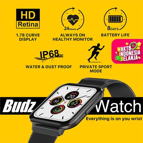 Foto Produk Budz Smartwatch Waterproof IP68, Heart Rate, Blood Pressure Oxygen EKG - Rubber dari BUDZ ID