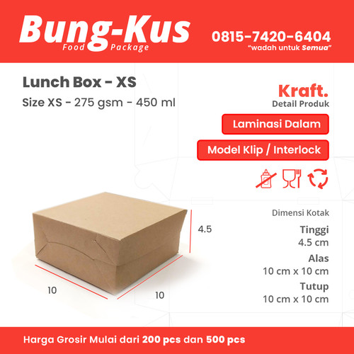 Foto Produk Kotak Makan Kertas Kraft / Box Cemilan / Box Dimsum / Takoyaki size XS dari BungkusPack