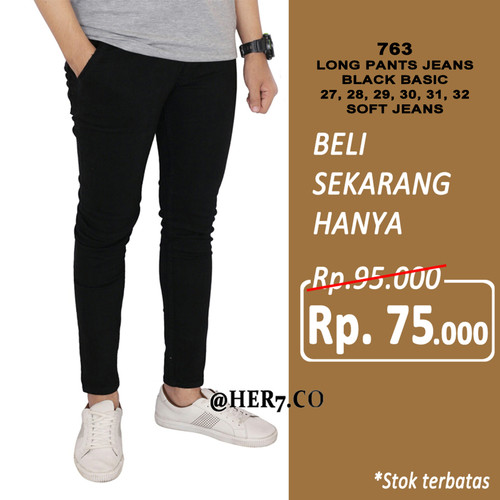 Foto Produk Celana Jeans Skinny Hitam Polos Panjang Pensil Denim Pria dari her7.co