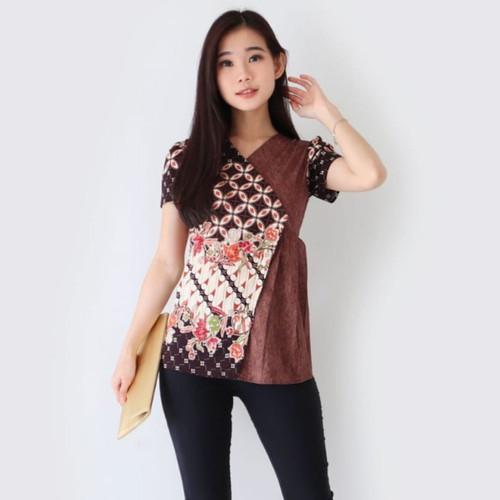Foto Produk Baju Batik / Blouse Batik Wanita / Chany Top / bahan Katun - Maroon C dari Fraire Collection