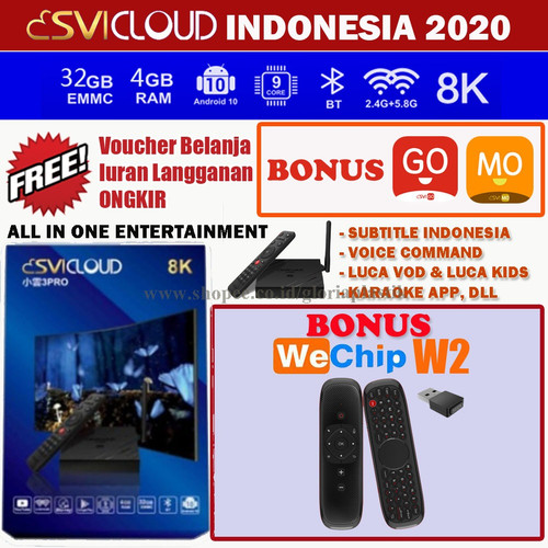 Foto Produk SVICLOUD 3PRO INDONESIA 8K 4GB/32GB ANDROID 10 DUAL WIFI 2.4&5.8 Ghz - WECHIP W2 dari GloriaOfficial