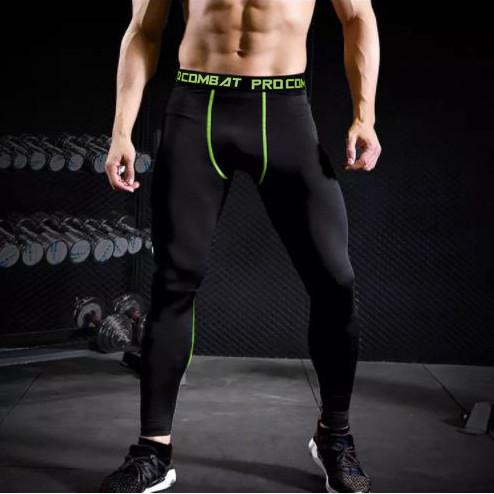 Foto Produk Celana Olahraga Pria Training Baselayer Legging Spandek List - Pro Hitam Hijau, L dari elfs shop manfashion