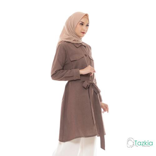 Foto Produk Atasan Muslim Wanita | Saffana Tunik Cokelat | S M L XL | Tazkia Hijab - M dari Tazkia Hijab Store