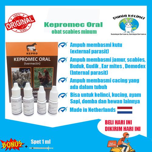 Foto Produk Obat Scabies gudik kutu Kepromec Oral 10ml AMPUH MURAH ORIGINAL - 5 ml dari Dunia Kelinci Depok