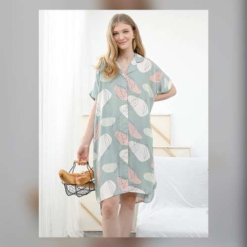 Foto Produk Yoko Nightdress in Calm Green - Piyama / Daster Rayon Premium by RAHA dari Raha Sleepwear