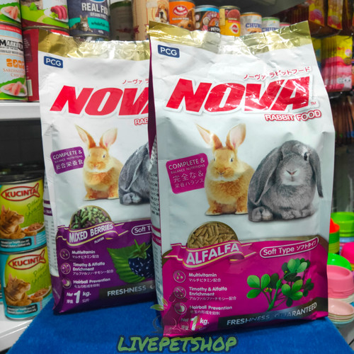 Foto Produk Nova Rabit 1kg(Mixed Berries/Alfafa) Pakan Kelinci - Alfalfa dari livepetshop