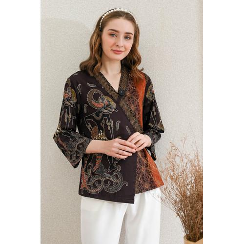 Foto Produk GAGA - Long Kyoto Top / Atasan Batik Wanita Lengan Panjang - Cokelat, standard dari Lustopia_Collection