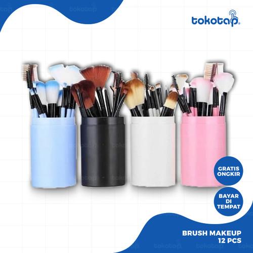 Foto Produk Kuas Alat Make Up Kosmetik Tabung 12pcs Brush - Merah Muda dari tokotap