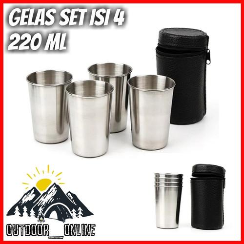Foto Produk Gelas Set / Gelas Tumpuk Stainless Sedang Isi 4 pcs 220 ml dari Outdoor_Online