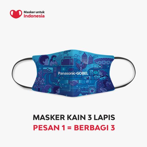 Foto Produk Masker Kain 3 Ply Earloop - Desain oleh Panasonic x @madebyzaky dari Masker untuk Indonesia