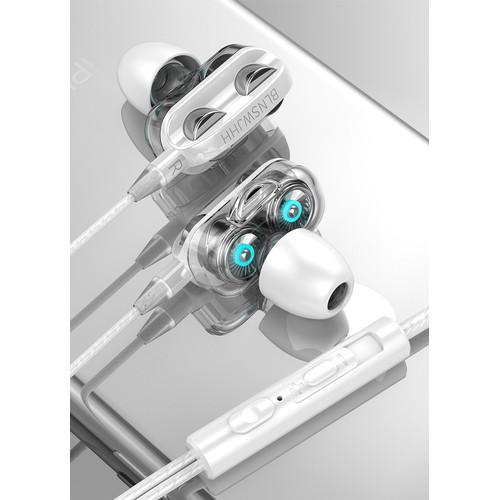 Foto Produk 4D Earphone In-ear Kabel 3,5mm   Bass Double Speaker Dual Drive Stereo - Putih dari EMPO