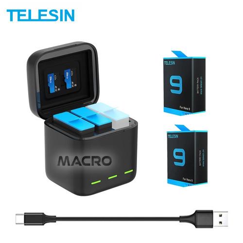 Foto Produk Baterai 2-Pack With 3 Slot Charger box TELESIN For Gopro Hero 9 dari MACRO