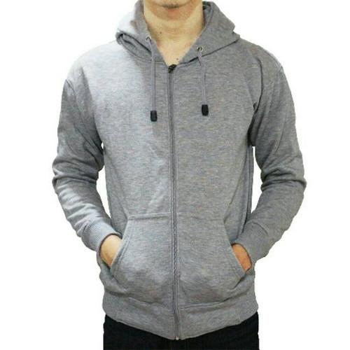 Foto Produk Jaket Sweater Hoodie Zipper Hijau Tosca Pria Wanita - ZIPPER ABU MUDA, M dari DELDICK_OLSHOP