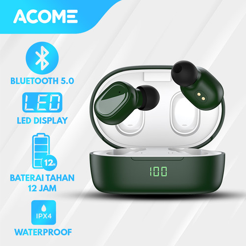 Foto Produk Acome Headset Bluetooth 5.0 TWS LED Airdots T1 Garansi Resmi 1 Tahun - T1 Green dari Acome Indonesia
