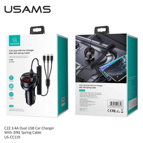 Foto Produk USAMS C22- 3.4A Dual USB Car Charger with 3IN1 Spring Cable dari mobile phone acc