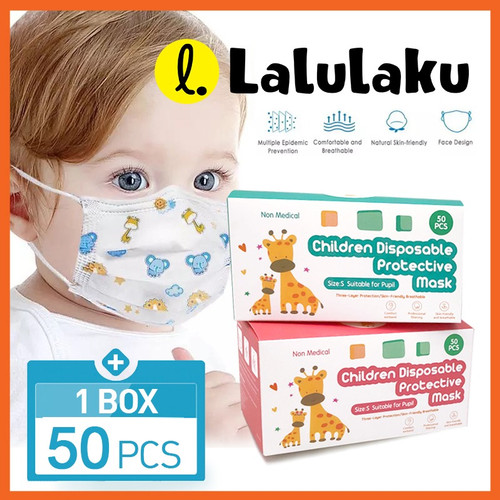 Foto Produk Masker Anak 3ply Kids Child Mask Motif Earloop 1 Box Isi 50 Pcs - Motif Perempuan dari Lalulaku