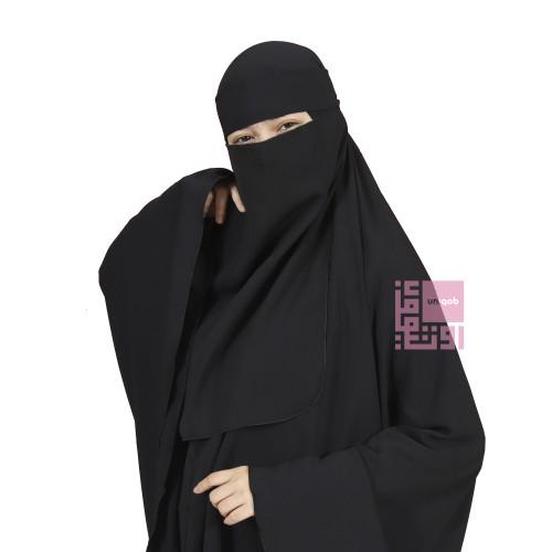 Foto Produk Niqab Cadar Bandana Woolpeach - Brand Uniqob - Hitam dari Uniqob Official