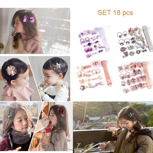 Foto Produk IK80 Ikat Jepit Rambut Korea Anak Cute Little Girl set 18 pcs - purple dari Dneo Store