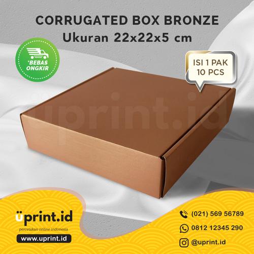 Foto Produk CORRUGATED BOX POLOS  DUS BROWNIES  UKURAN 22x22x5 BRONZE dari Uprint.id