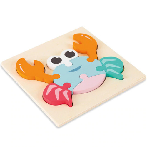 Foto Produk Chunky Pastel Wooden Puzzle - Mainan Puzzle Kayu Murah Timbul Edukasi - Crab dari My Own Flashcards