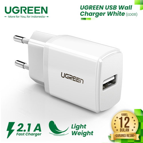 Foto Produk UGREEN USB Wall Charger 5V/2.1A - ED011 - White dari UGREEN Authorized Store