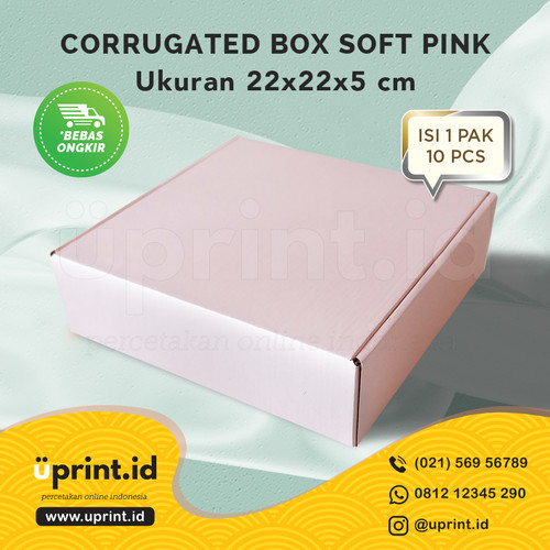 Foto Produk CORRUGATED BOX POLOS  DUS BROWNIES  UKURAN 22x22x5 SOFTPINK dari Uprint.id
