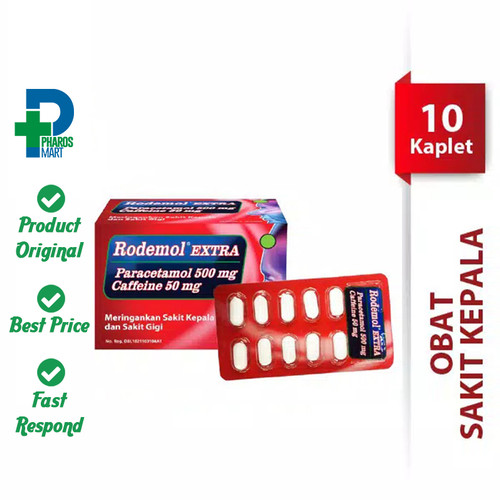 Foto Produk Rodemol Extra 1 Blister @ 10 Kaplet Redakan Sakit Kepala dari Pharos Official Store
