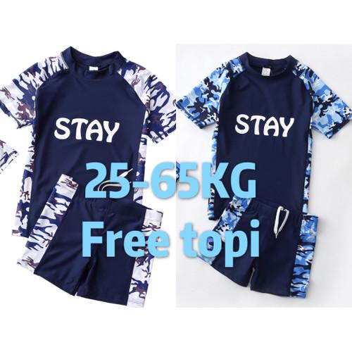 Foto Produk BIG SIZE baju renang anak pria laki SD teens atasan bawahan PREMIUM - Putih, XL dari EVER 25