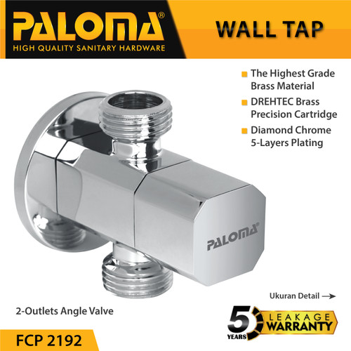 Foto Produk PALOMA FCP 2192 Keran Stop Cabang Toilet WC Jet Shower Tembok Kran Air dari PALOMA HARDWARE