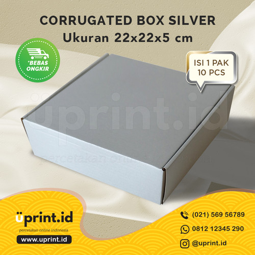 Foto Produk CORRUGATED BOX POLOS |DUS BROWNIES |UKURAN 22x22x5|SILVER dari Uprint.id