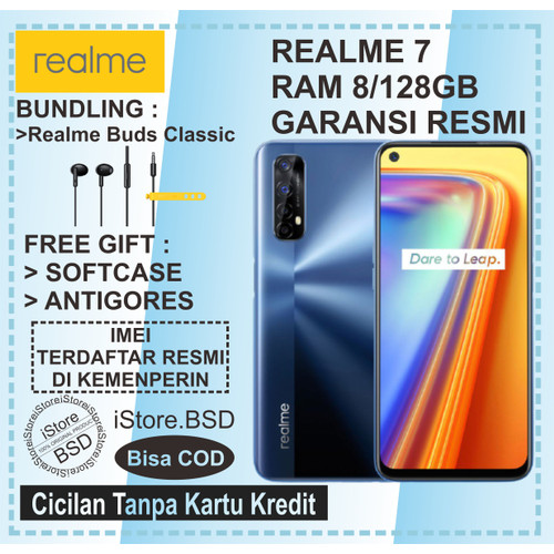 Foto Produk REALME 7 RAM 8/128GB | MEDIATEK HELIO G95 | 64MP QUAD CAMERA |GARANSI - Mist White, No Bundle dari iStore BSD