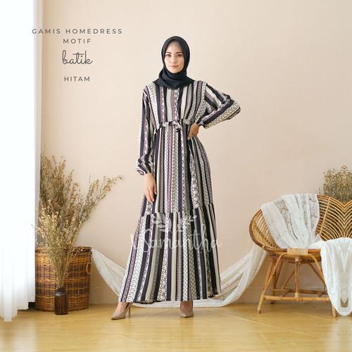 Foto Produk Gamis Homedress Rayon Motif Batik - Hitam dari Beli Mukena