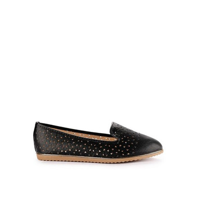 Foto Produk Prima Classe Bernal Sepatu Flat Warna Solid Detail Laser Cut - Hitam, 36 dari prima classe