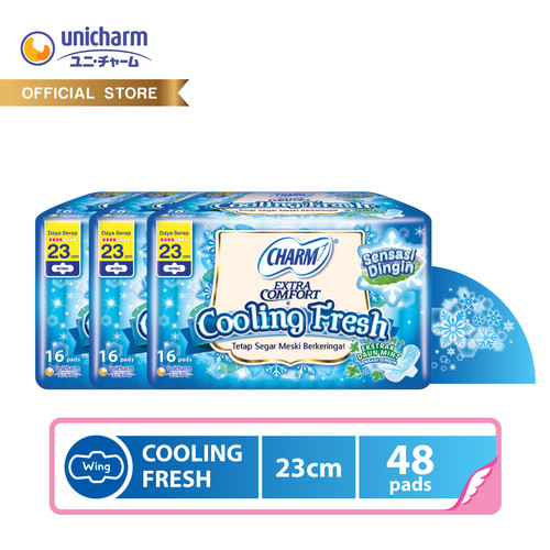 Foto Produk Charm Pembalut Cooling Fresh Wing 23cm 16 pads - 3 packs dari Unicharm Official Store