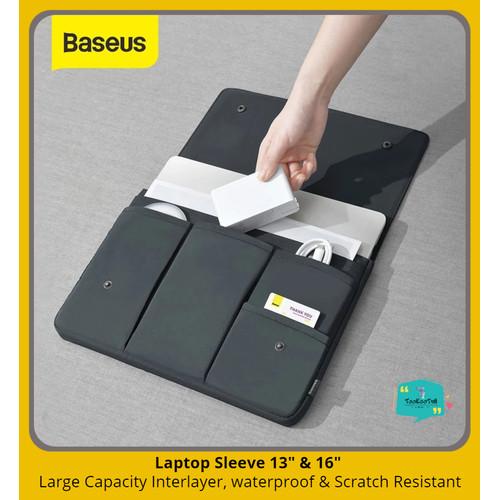 Foto Produk BASEUS Laptop Bag Waterproof Tas Laptop Tas Macbook NoteBook Sleeve - Grey 13 Inch dari tookootri