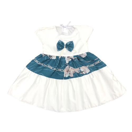 Foto Produk Baju Dress Anak Perempuan Katun 1-2 Tahun Motif Chain Pita Dada - Biru dari MyJAC Collection