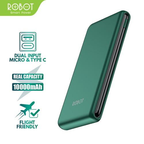 Foto Produk PowerBank ROBOT 10000mAh RT180 Dual Input Port Type C & Micro USB - Hijau dari ROBOT OFFICIAL SHOP