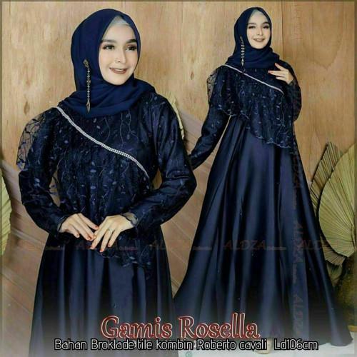 Foto Produk Baju Gamis Brokat Pesta Wanita Atasan Cewek Dress Muslimah Modern Abu - navy dari Chank Cunk Batik