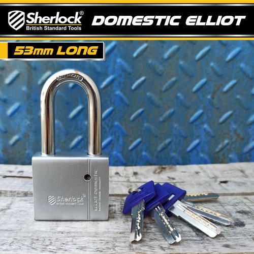 Foto Produk SHERLOCK ELLIOT Domestic Gembok Perisai BAJA ( 53 mm Panjang ) Silver dari SHERLOCK TOOLS