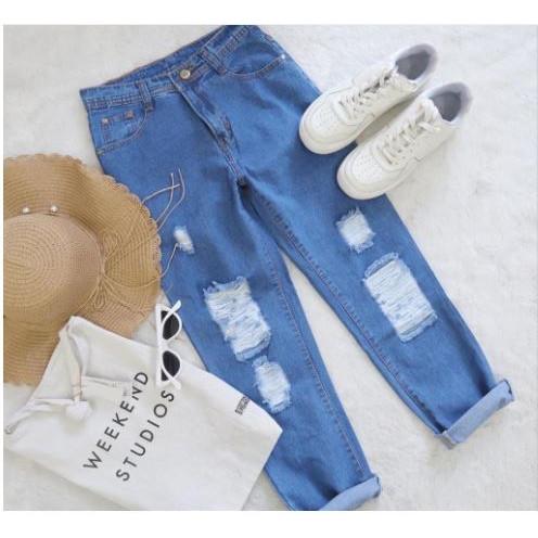Foto Produk BJD - Celana Boyfriend Jeans Sobek Wanita Divary - Biru Medium, 29 dari Beli Jeans Disini