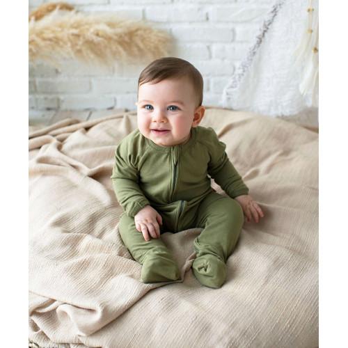 Foto Produk Takoyakids Essentials Azuki Zipper Sleepsuits Olive - 0-3m dari Kottonville